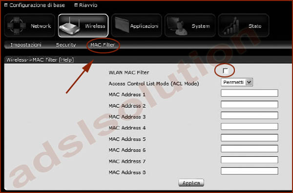 Digicom 8E4492 RAW150-A02 manuale configurazione wireless